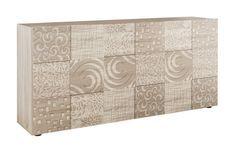 Buffet 3 portes bois mélaminé chêne clair Zebre L 180 cm