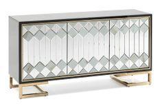 Buffet 3 portes verre noir miroir et métal doré