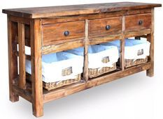 Buffet 3 tiroirs 3 paniers amovibles bois massif recyclé Moust
