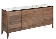 Buffet 4 portes bois noyer et plateau en marbre céramique blanc Mykal