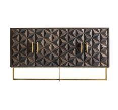 Buffet 4 portes manguier massif gris et métal doré Perko