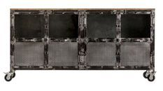 Buffet 4 portes manguier massif vieilli et métal noir Bunky