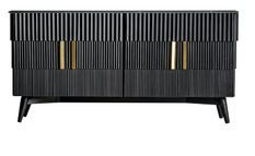 Buffet 4 portes marbre et manguier massif noir Lial L 168 cm