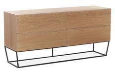 Buffet 4 tiroirs bois plaqué chêne et pieds métal noir Blina
