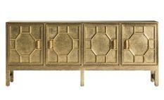 Buffet art déco 4 portes laiton doré Santok 183 cm