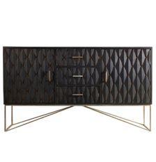 Buffet 2 portes 3 tiroirs bois massif de Manguier noir et métal doré Perko 152 cm