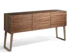 Buffet contemporain bois noyer 2 portes 2 tiroirs Kompa