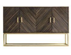 Buffet art déco 4 portes bois massif marron et métal doré Jamie 153 cm