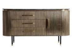 Buffet 1 porte 3 tiroirs métal vieux doré et plateau marbre noir Valura 150 cm