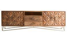 Buffet 2 portes 2 tiroirs manguier massif clair et métal doré Notel 200 cm