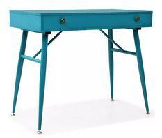 Bureau 1 tiroir bois et métal bleu antique Rex