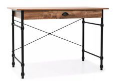 Bureau 1 tiroir chêne foncé et métal noir Axtel