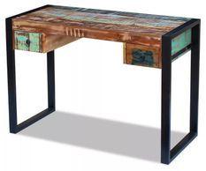Bureau 2 tiroirs 1 porte bois massif recyclé multicolore et métal noir Moust 110 cm