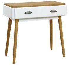 Bureau 2 tiroirs bois blanc et clair Haziel