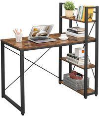 Bureau avec étagère industriel bois vintage et acier noir Kaza L 120 cm
