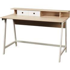 Bureau bois chêne clair et pieds métal blanc Adora 120 cm