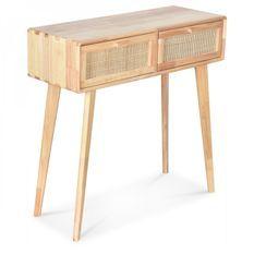 Bureau console 2 tiroirs hévéa massif clair et rotin Emili