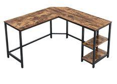 Bureau d'angle industriel bois vintage et acier noir Kaza L 138 x P 138 x H 75 cm