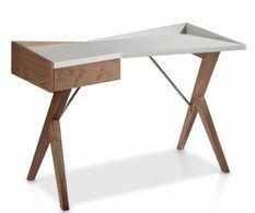 Bureau design original bois noyer et laqué Barona