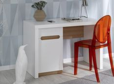 Bureau enfant avec caisson blanc et bois clair Milo