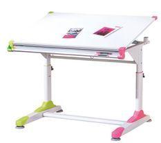 Bureau enfant inclinable bois blanc déco rose et vert Colo