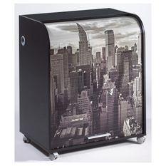 Bureau informatique à rideau noir imprimé New York Must