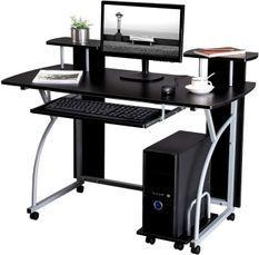 Bureau informatique noir L 120 x P 59 x H 90 cm