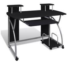 Bureau informatique sur roulettes bois noir et métal gris Patti