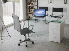 Bureau moderne en verre courbé trempé et caisson laqué blanc Koundi