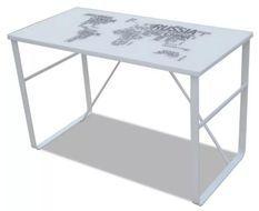 Bureau verre trempé à motif et métal blanc Holy