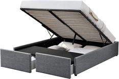 Cadre de lit avec coffre et 2 tiroirs 140x190 cm tissu lin gris foncé Karmi