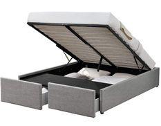 Cadre de lit avec coffre et 2 tiroirs 140x190 cm tissu lin gris clair Karmi