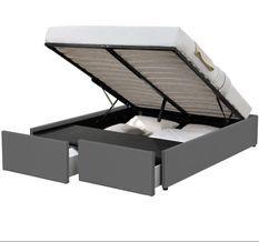 Cadre de lit avec coffre et 2 tiroirs 160x200 cm simili cuir gris Karmi