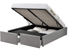 Cadre de lit avec coffre et 2 tiroirs 160x200 cm tissu lin gris clair Karmi