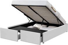 Cadre de lit avec coffre et 2 tiroirs 180x200 cm simili cuir blanc Karmi