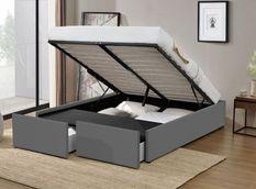 Cadre de lit avec coffre et 2 tiroirs 180x200 cm simili cuir gris Karmi