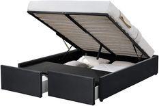 Cadre de lit avec coffre et 2 tiroirs 180x200 cm simili cuir noir Karmi