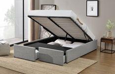 Cadre de lit avec coffre et 2 tiroirs 180x200 cm tissu lin gris clair Karmi