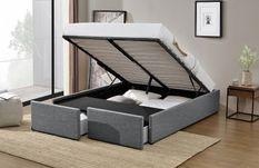 Cadre de lit avec coffre et 2 tiroirs 180x200 cm tissu lin gris foncé Karmi