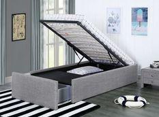 Cadre de lit avec coffre et 2 tiroirs 90x190 cm tissu lin gris clair Karmi