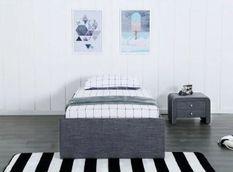 Cadre de lit avec coffre et 2 tiroirs 90x190 cm tissu lin gris foncé Karmi