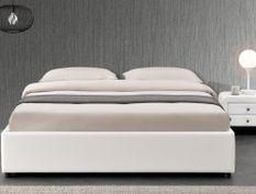 Cadre de lit simili blanc avec rangement Studi 160