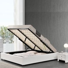 Cadre de lit simili blanc avec rangement Studi 180