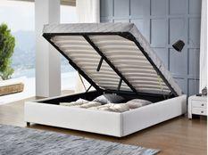 Cadre lit coffre simili cuir blanc Break 140x190 cm