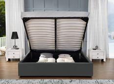Cadre lit coffre simili cuir gris Break 140x190 cm