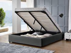 Cadre lit coffre simili cuir gris Break 160x200 cm