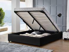 Cadre lit coffre simili cuir noir Break 140x190 cm