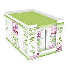 CADUM BÉBÉ Natural Caresse Lingettes Ultra-Douces Hypoallergéniques Format Pocket 18 x 20 Unités