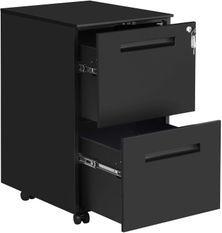 Caisson 2 tiroirs pour classeurs suspendus métal noir mat Bofice
