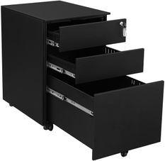 Caisson 3 tiroirs pour classeurs suspendus métal noir mat Bofice